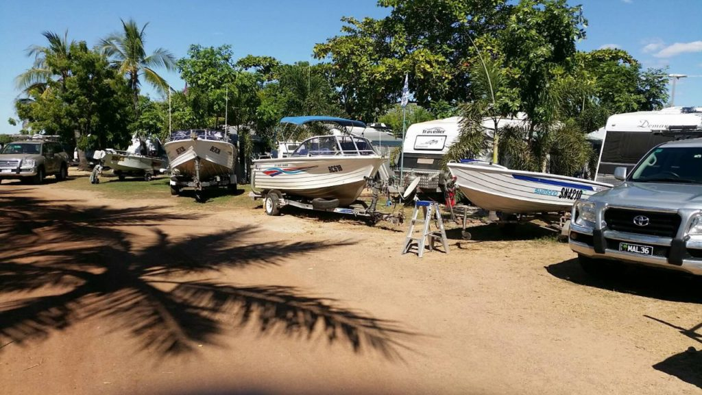 Trees and boats at Karumba Point Sunset Caravan Park