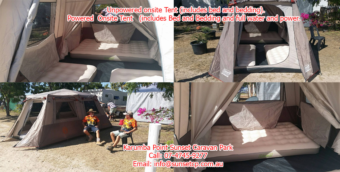 Facilities- The tents sleep 4 persons at Karumba Point Sunset Caravan Park