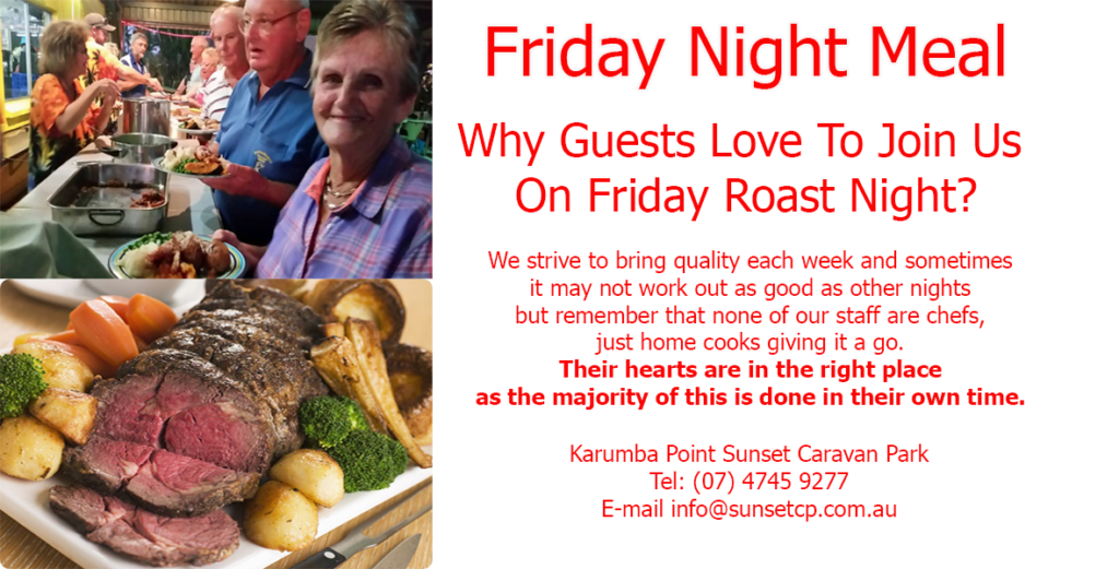 Friday Night Meal Karumba Point Sunset Caravan Park