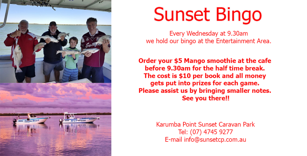 Sunset Bingo Karumba Point SunSunset Bingo Karumba Point Sunset Caravan Park set Caravan Park