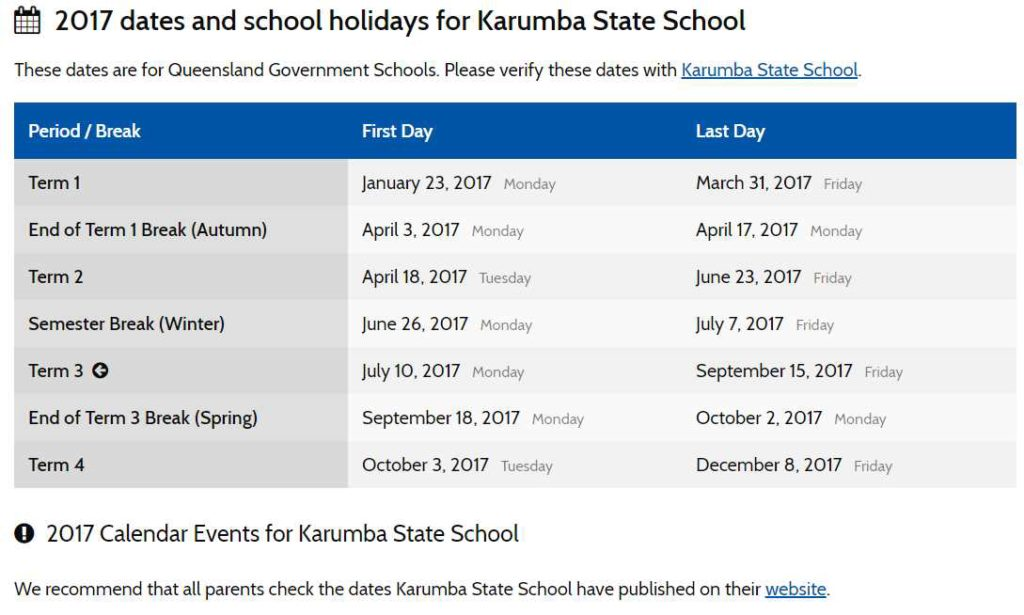 2017 dates and school holidays for Karumba State School