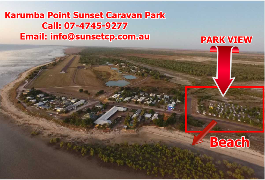 A Beautiful Park View Karumba Point Sunset Caravan Park to the park to the beach saying Beach