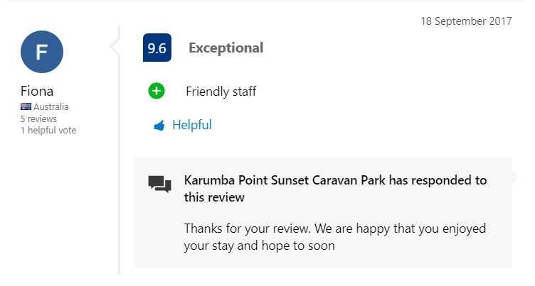 Booking.com Testimonial Exceptional Friendly Staff 18 September 2017