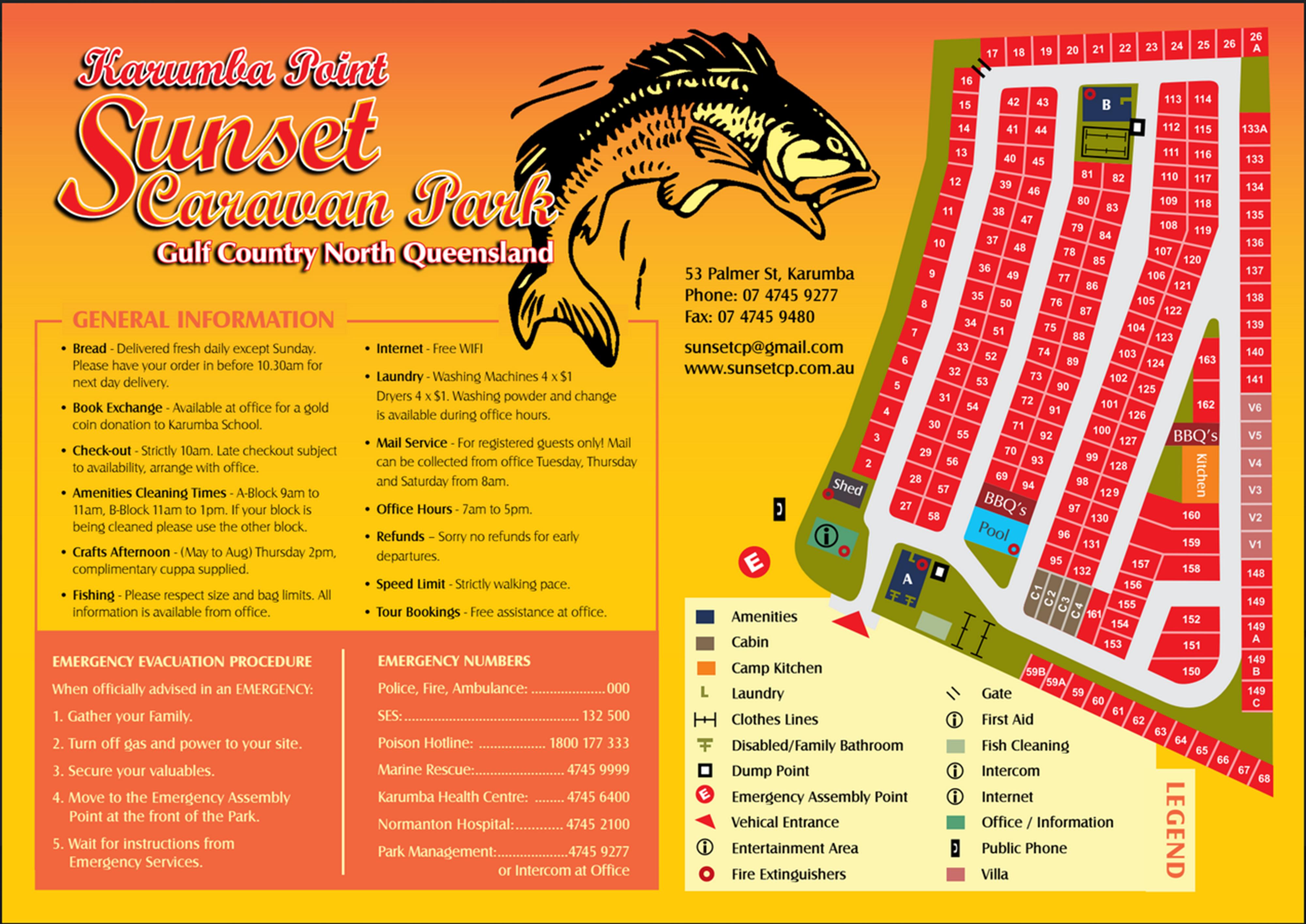 Karumba Point Sunset Caravan Park Site Plan