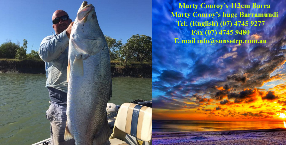 Marty-Conroy-113cm-Barra-April-2015 karumba point sunset caravan park accommodation cabins hotels fishing birds wild life queensland qld online direct booking book now
