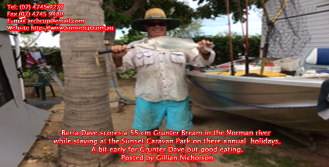 Barra-Dave-scores-a-55-cm-Grunter-Bream-in-the-Norman-river-while-staying-at-the-Sunset-Caravan-Park-on-there-annual-holidays