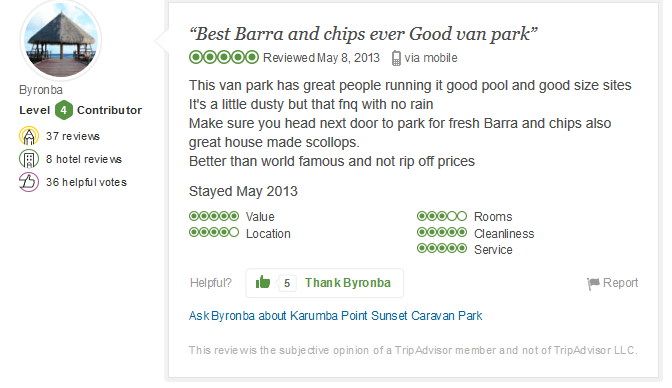 Best Barra And Chips Ever Good Van Park May 8, 2013