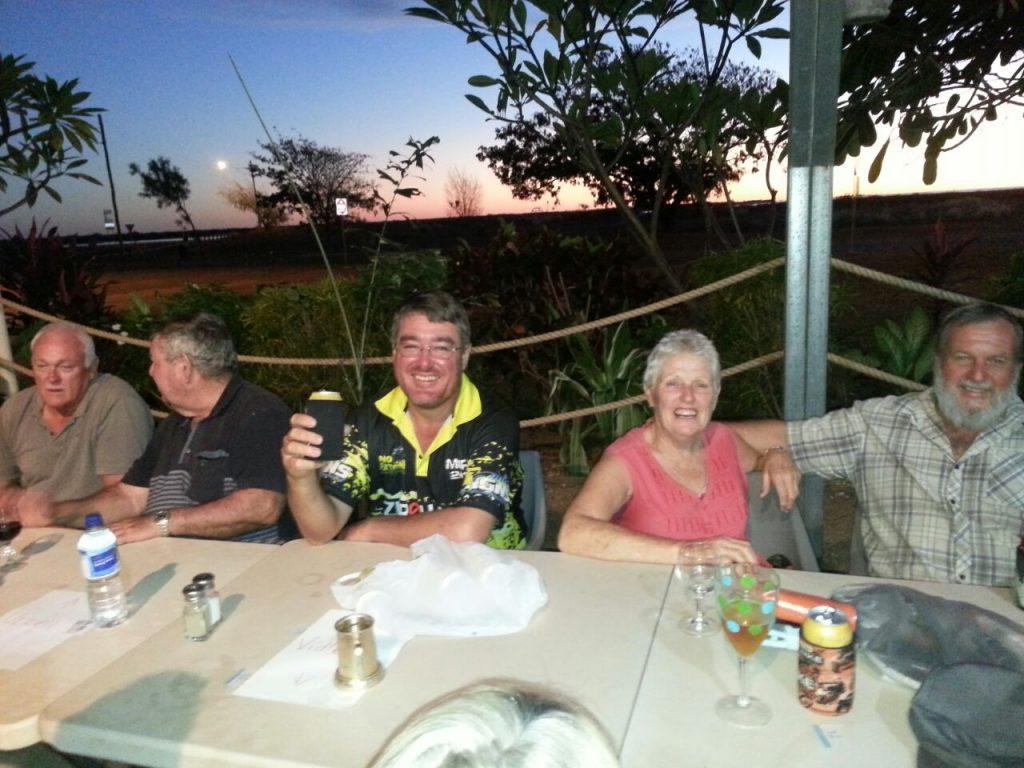 Fun an friends at the Park Friday night roast at Karumba Point Sunset Caravan Park