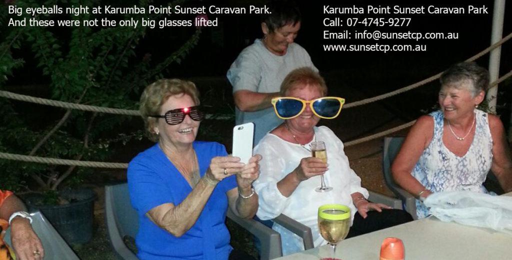 Big eyeballs night at Karumba Point Sunset Caravan Park