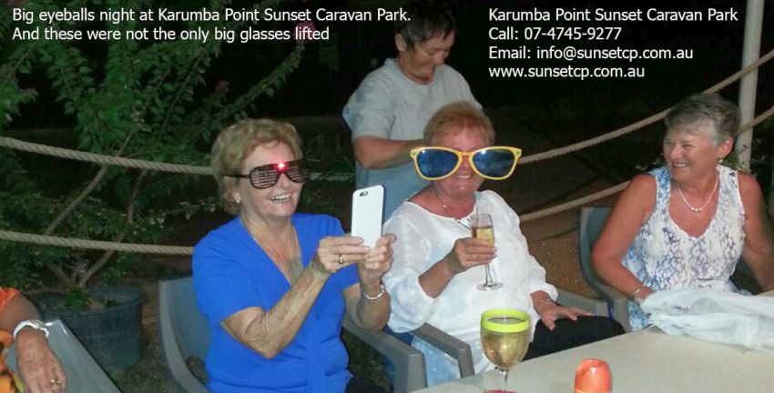 Big eyeballs night at Karumba Point Sunset Caravan Park