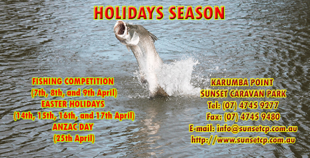 Karumba Point Sunset Caravan Park Holidays Easter Holidays, Fishing Competition, Anzac Days