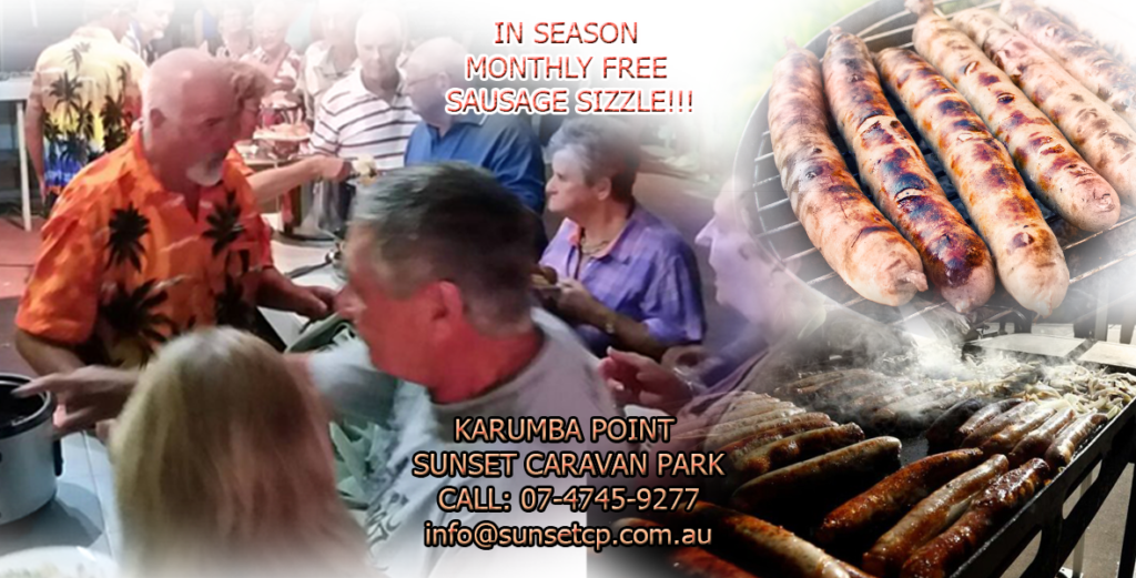 Monthly FREE Sausages Sizzle Karumba Point Sunset Caravan Park
