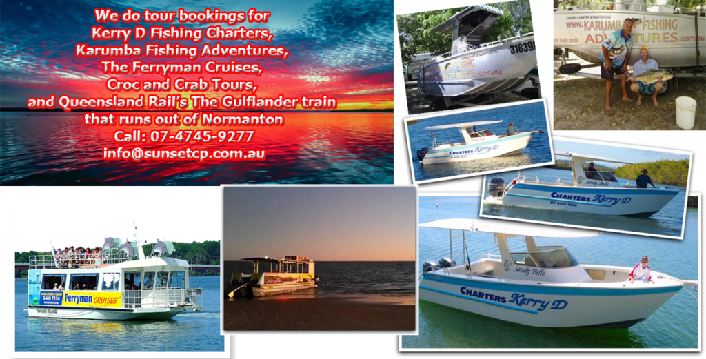 Kerry D Fishing, Ferryman Cruises, Croc and Crab Tours, Rails Gulflander train Karumba Point Sunset Caravan Park