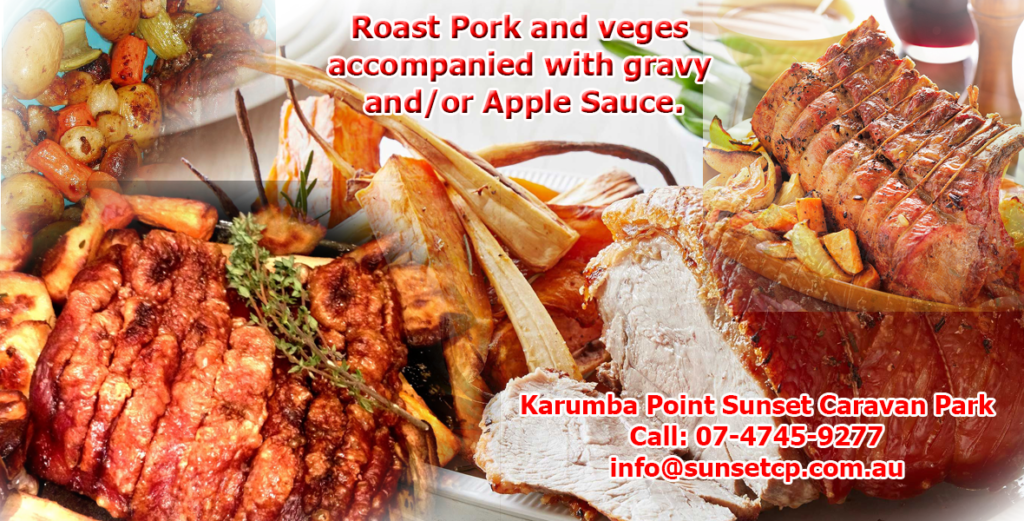 Roast Pork and veges accompanied with gravy and or Apple Sauce