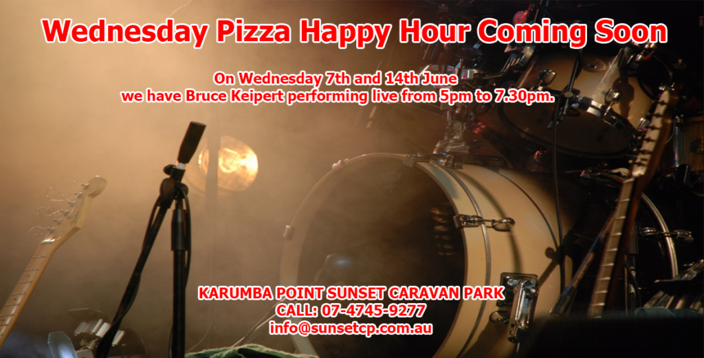 Wednesday Pizza Happy Hour Coming Soon Karumba Point Sunset Caravan Park