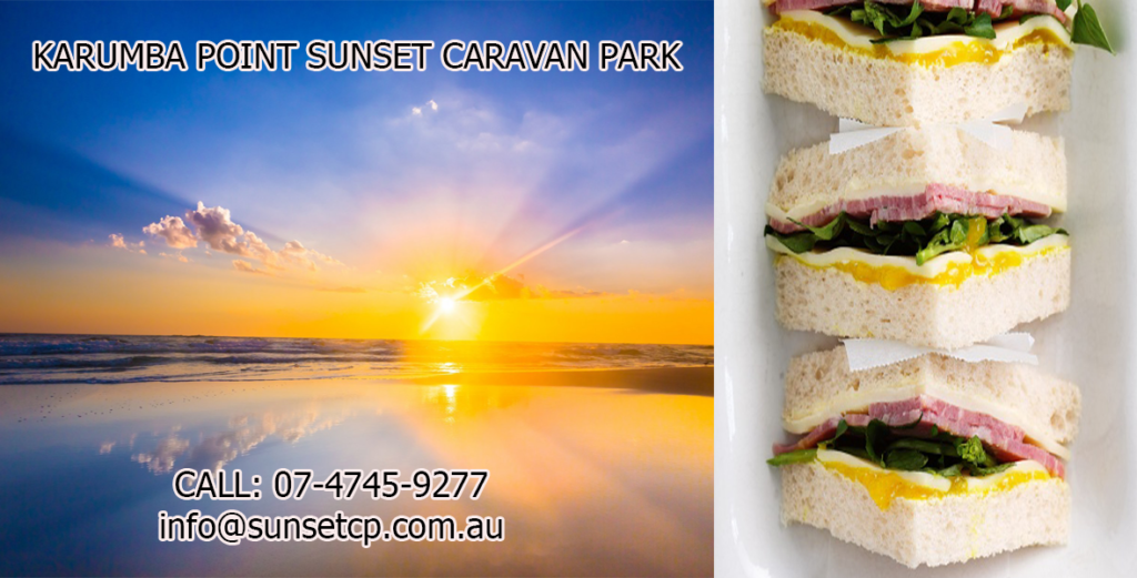 Beef and Corn Sandwiches and Beautiful Sunset Karumba Point Sunset Caravan Park