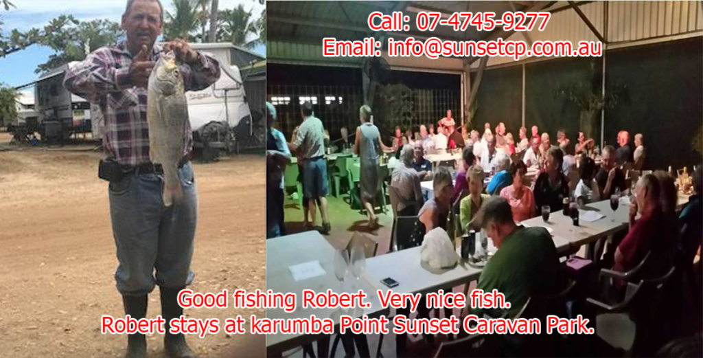 Good fishing Robert. Very nice fish. Robert stays at Karumba Point Sunset Caravan Park.