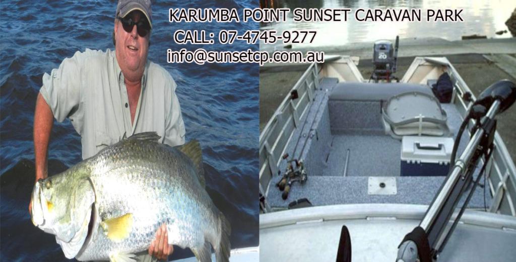 Huge Barra Caught Sunset Karumba Point Sunset Caravan Park