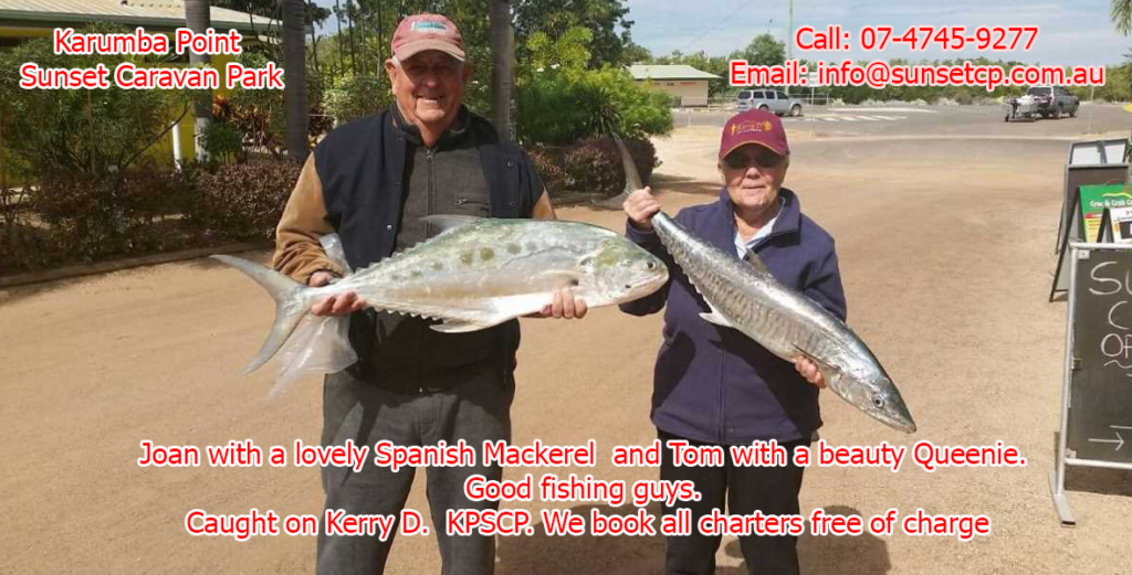 Joan with a lovely Spanish Mackerel and Tom with a beauty Queenie at Karumba Point Sunset Caravan Park