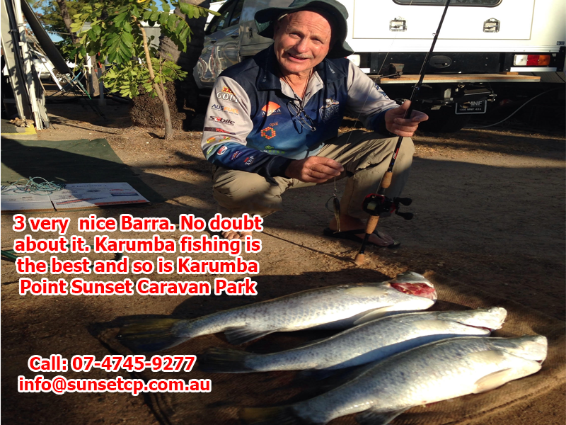3 Very nice Barramundi No doubt about it. Karumba fishing is the best and so is Karumba Point Sunset Caravan Park