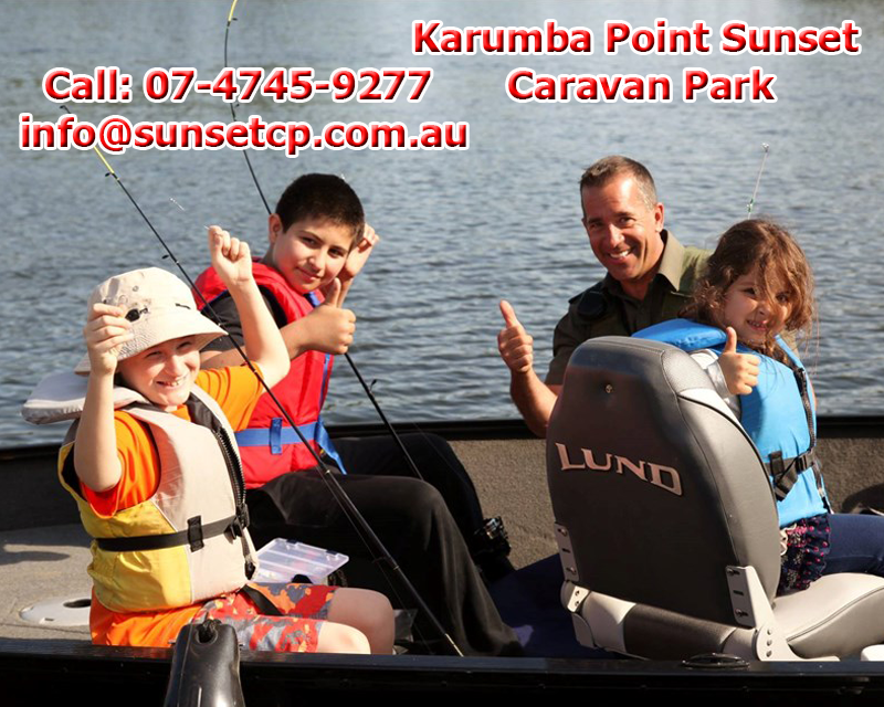 Children Family Fishing Fun Tourist Attraction Karumba Point Sunset Caravan Park