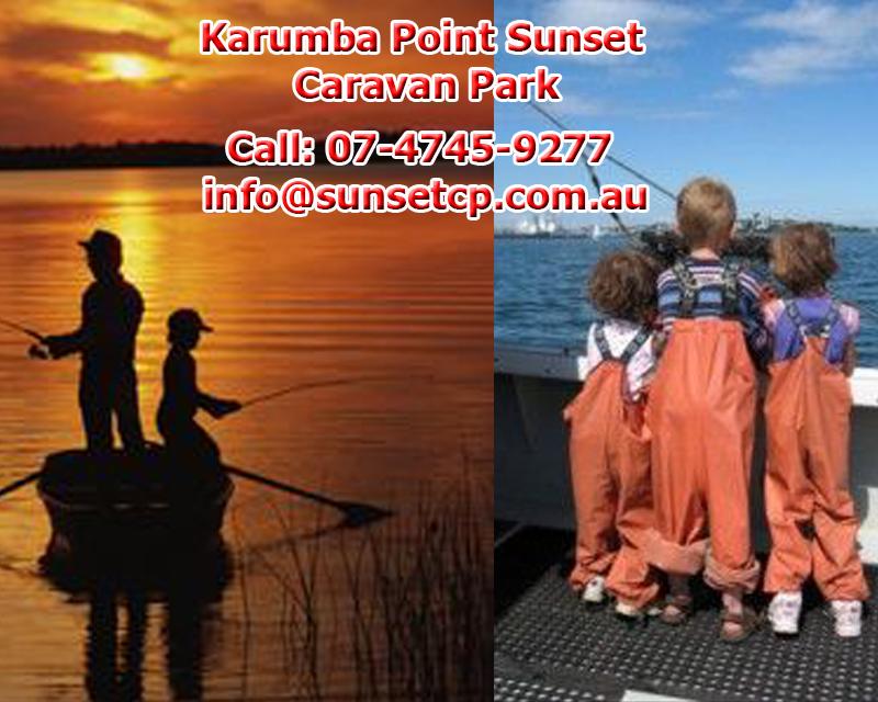 Children Family Fishing Fun Tourist Attraction Karumba Point Sunset Caravan Park