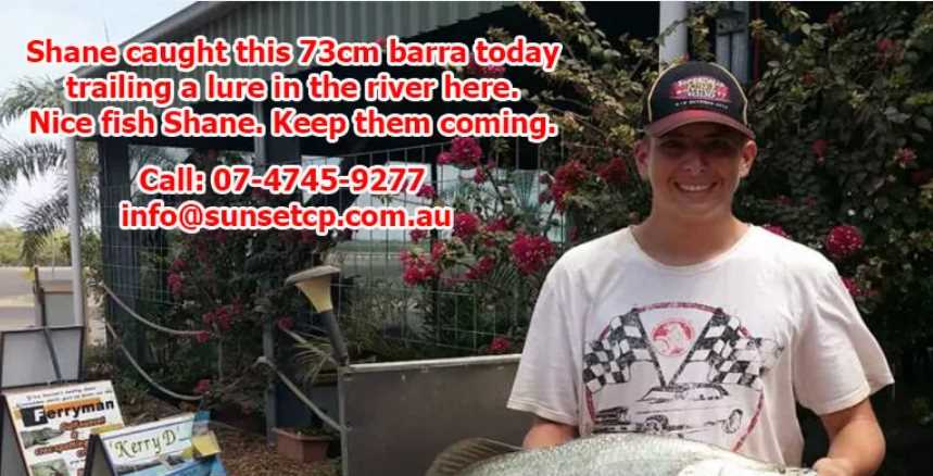 Shane caught this 73cm barra today trailing a lure in the river here