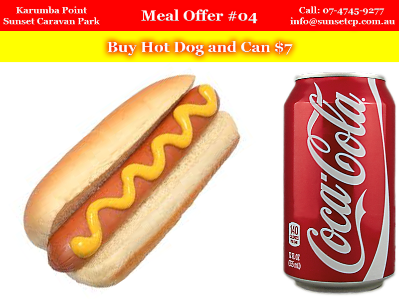 Meal Offer #04 Karumba Point Sunset Caravan Park Hot Dog and Can $7 1